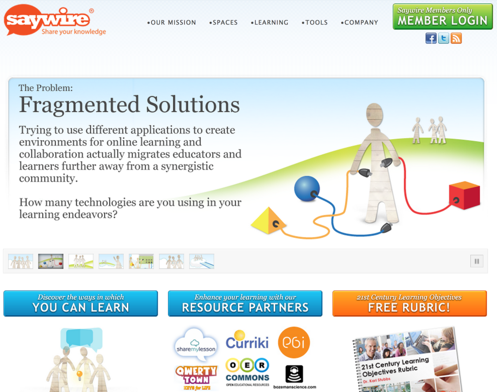 Current version of saywire.com.