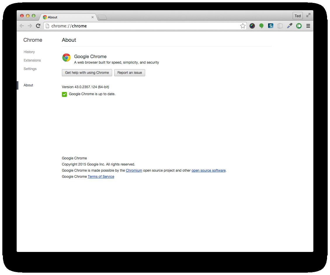 Chrome Mac About